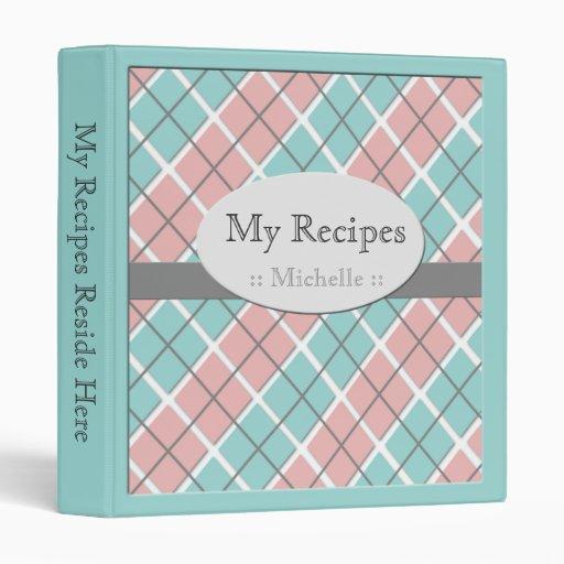 Blue & Pink Argyle Recipe Binder