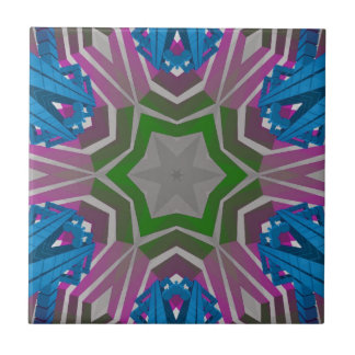 Blue Pink Aztec Pattern Ceramic Tile