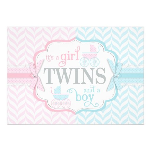 Blue & Pink Baby Carriage Twins Baby Shower Custom Invite