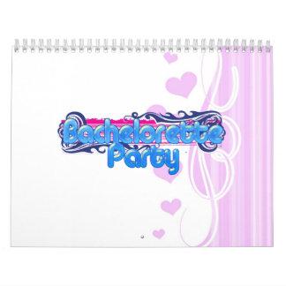 blue pink bachelorette wedding bridal shower party calendar