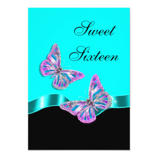 "Blue pink black butterfly ribbon 5"" x 7"" invitation card"