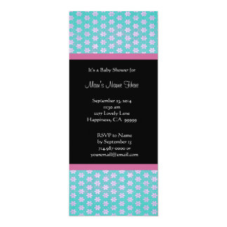 Blue Pink Black Damask Baby Shower Invitations