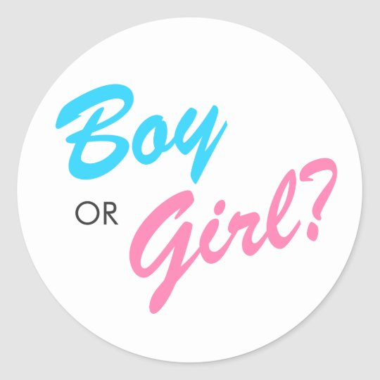 blue pink boy or girl gender reveal stickers zazzle com
