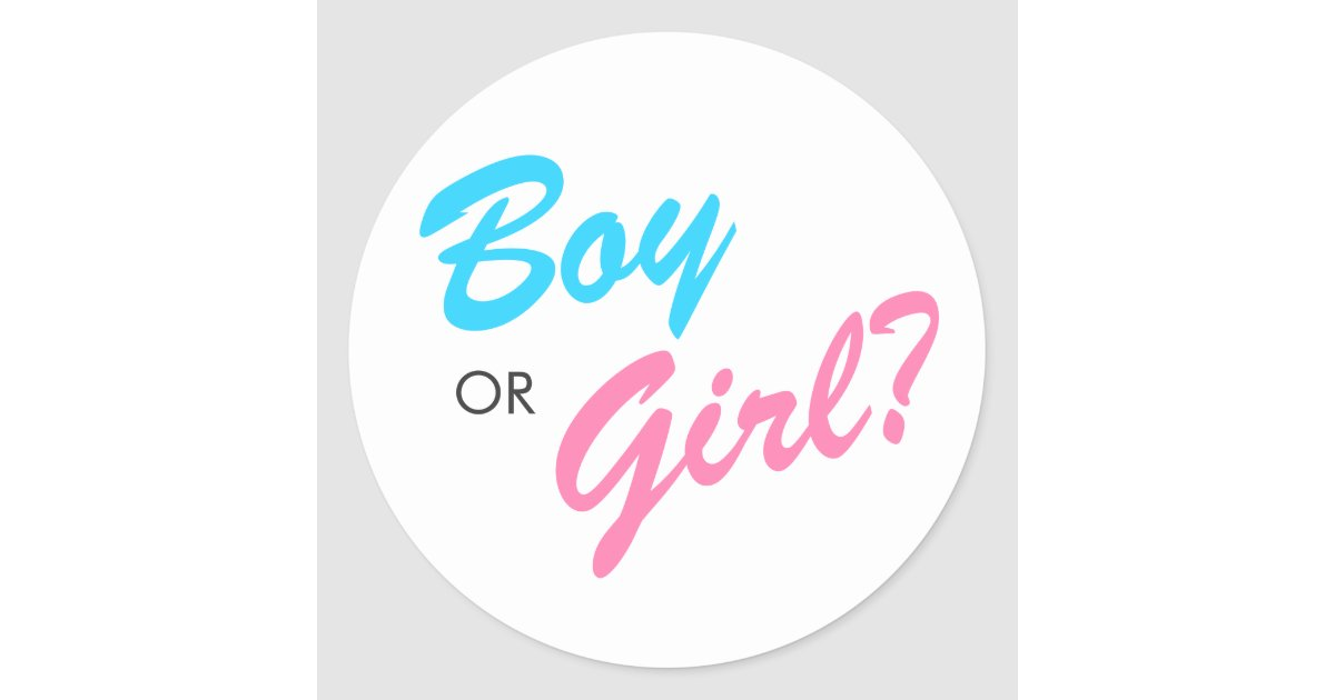 Blue Amp Pink Boy Or Girl Gender Reveal Stickers Zazzle