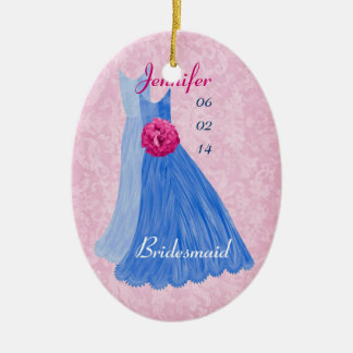 BLUE PINK Bridesmaid Thank You Wedding Ornament