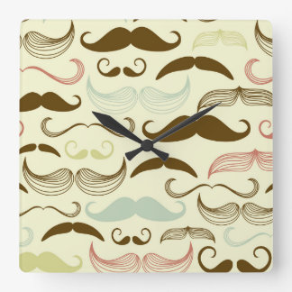 Blue Pink Brown Mustache Design Square Wall Clocks
