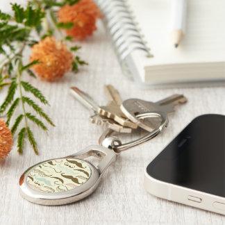 Blue, Pink & Brown Mustache Design Keychain