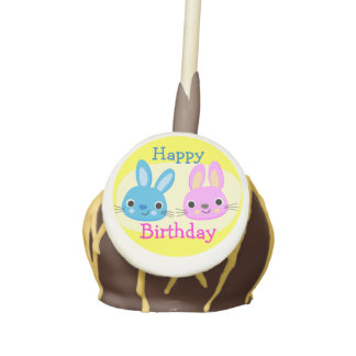 Blue Pink Bunnies Baby Boy and Girl Twins Birthday Cake Pops