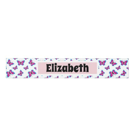 Blue Pink Butterfly Pattern | Add Your Name Ruler