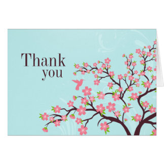 Blue pink cherry blossom wedding thank you card
