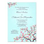 "Blue pink cherry blossoms wedding invitation 5"" x 7"" invitation card"