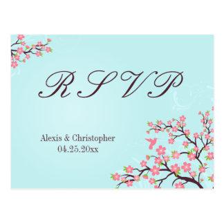 Blue pink cherry blossoms wedding RSVP postcard