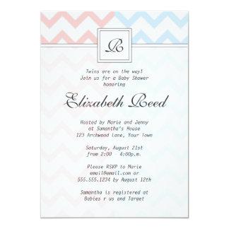 Blue & Pink Chevron Monogrammed Twins Baby Shower 5x7 Paper Invitation Card