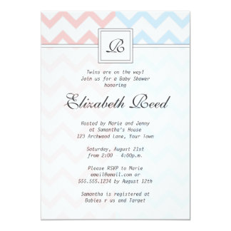 Blue & Pink Chevron Monogrammed Twins Baby Shower Card