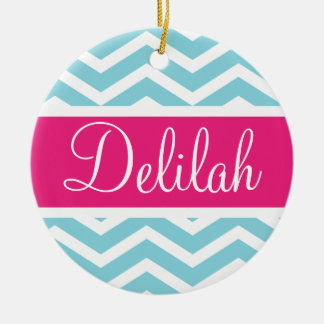 Blue Pink Chevron Name Ceramic Ornament