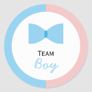 Blue Pink Color Block Gender Reveal Bow Bow Tie Classic Round Sticker