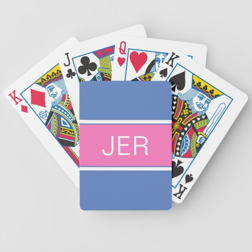 Blue Pink Custom Personalized Monogrammed Bicycle Playing Cards