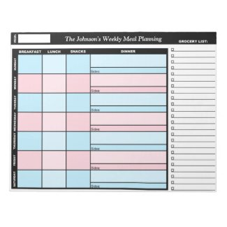 Blue & Pink Custom Weekly Meal Planning Notepad