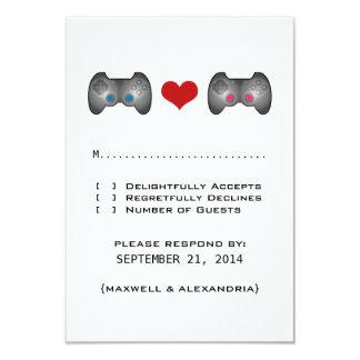 Blue Pink Cute Gamer Response Card Invitation