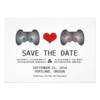 Blue Pink Cute Gamer Save the Date Invite
