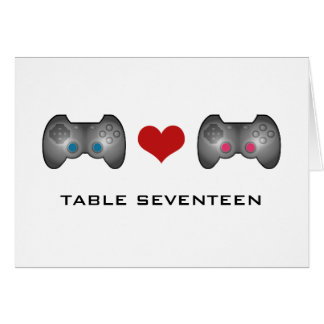 Blue Pink Cute Gamer Table Number Card