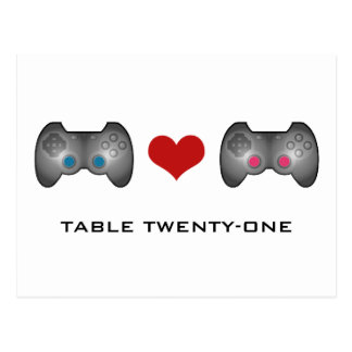 Blue Pink Cute Gamer Table Number Postcard