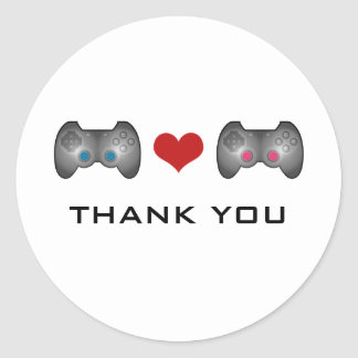 Blue Pink Cute Gamer Thank You Stickers