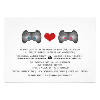 Blue Pink Cute Gamer Wedding Invite