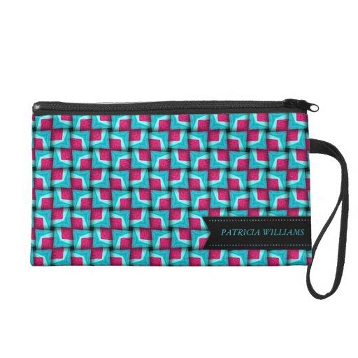 Blue Pink Cute Modern Pattern Wristlet Bags
