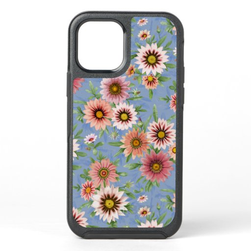 Blue  & Pink Daisy Floral Botanical Art OtterBox Symmetry iPhone 12 Case