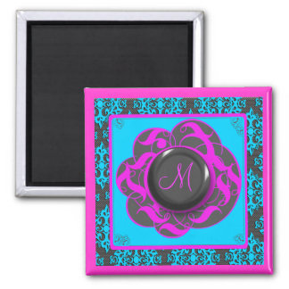 Blue Pink Damask Monogram M Magnet