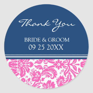 Blue Pink Damask Thank You Wedding Favor Tags