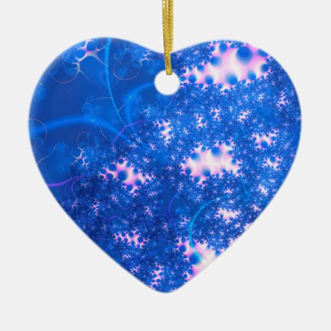 Blue Pink Delicate Cosmic Growth, Osmosis Abstract Ceramic Ornament