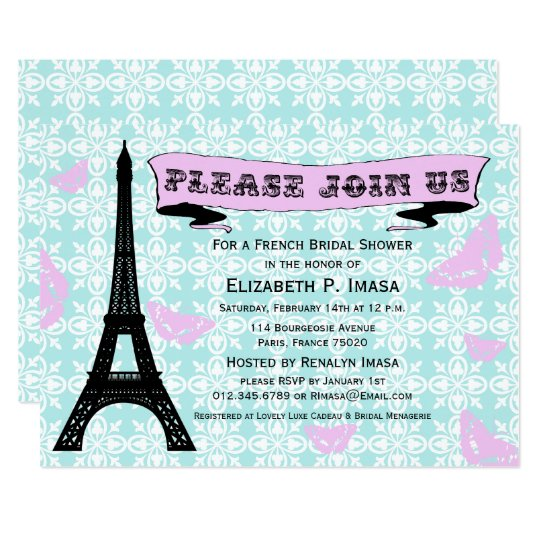 Blue & Pink Eiffel Tower Bridal Shower Invites