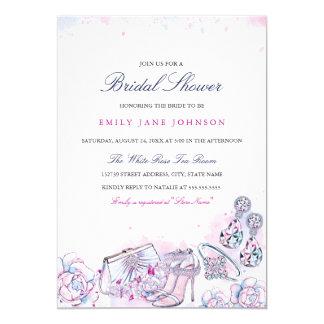Blue Pink Elegant Crystal Bridal Shower invite
