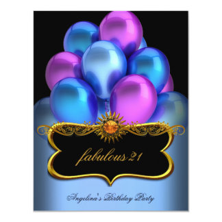 Blue Pink Fabulous Black Gold Balloons Birthday Card