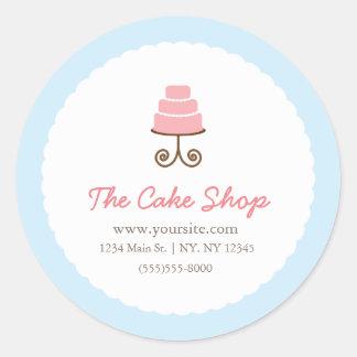 Blue & Pink Fancy Cake Bakery Sticker Label