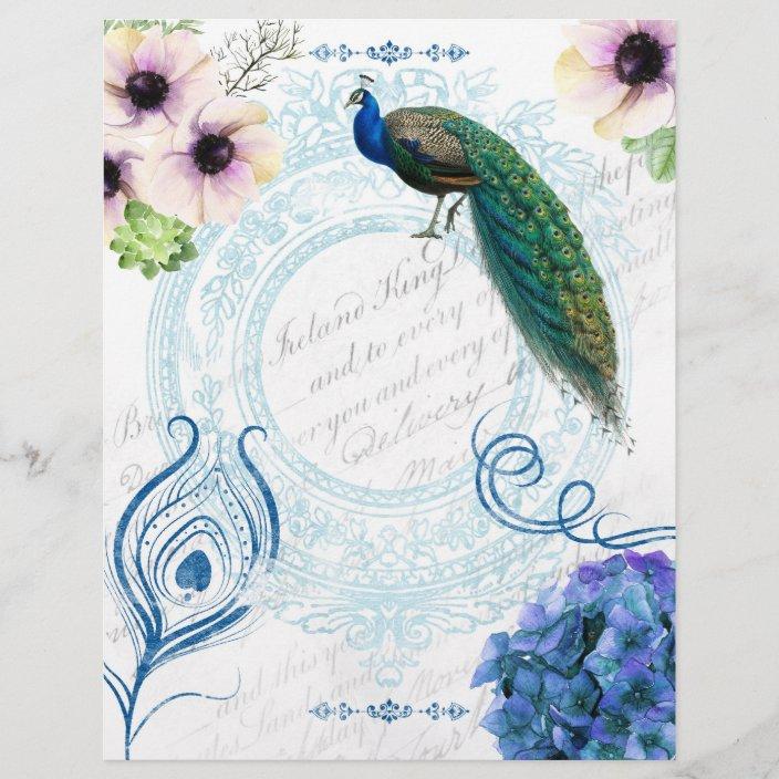 Blue Pink Floral Peacock Scrapbook Paper Zazzle Com