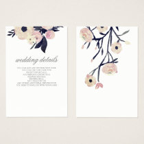 blue pink floral wedding  Details Enclosure Cards