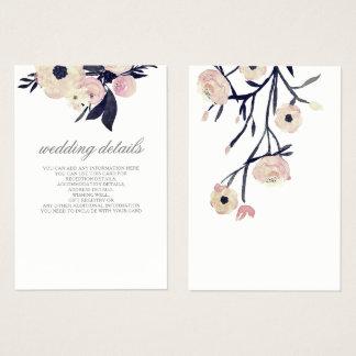 blue pink floral wedding  Details Enclosure Cards
