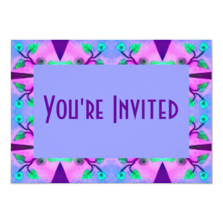 blue pink flower abstract card