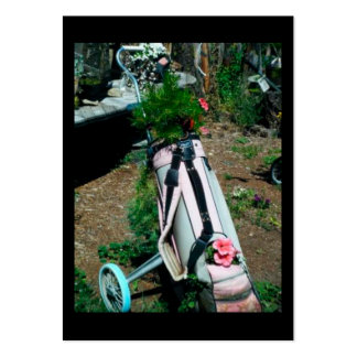 Blue & Pink Flower Golf Bag Trading Card Business Cards