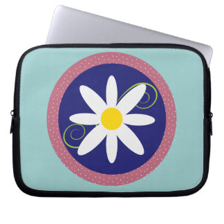 Blue Pink Flower Neoprene Laptop Zippered Sleeve