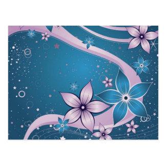blue pink flowers -vector art postcard