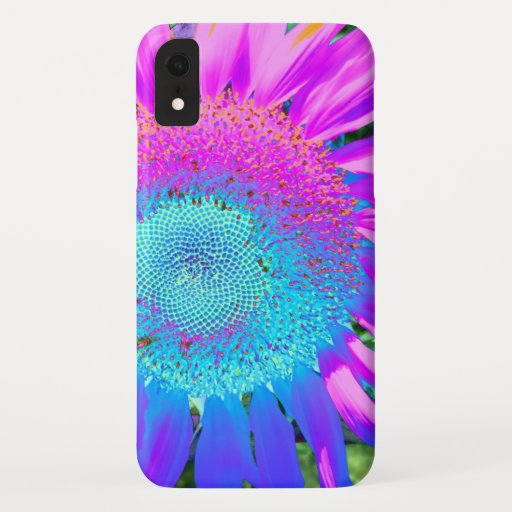 Blue pink funky retro sunflower photo iPhone XR case