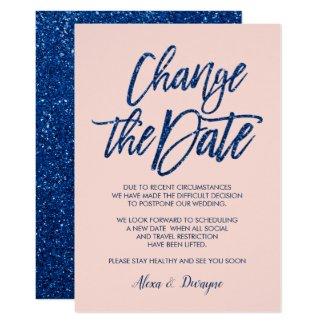 Blue pink Glitter Cancelled Postponed Wedding Invitation