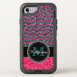 Blue & Pink Glitter Chevron Personalized Defender Otterbox Defender Iphone 8/7 Case at Zazzle