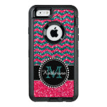 Blue & Pink Glitter Chevron Personalized Defender Otterbox Defender Iphone Case at Zazzle