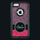 "Blue &amp; Pink Glitter Chevron Personalized Defender OtterBox Defender iPhone Case<br><div class=""desc"">Black and pink glitter chevron pattern sturdy defender otter box iPhone 6 / 6s case.   Personalized with your name and monogram.  Design by Caroline Leskiw</div>"