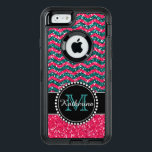 """Blue &amp; Pink Glitter Chevron Personalized Defender OtterBox Defender iPhone Case<br><div class=""""desc"""">Black and pink glitter chevron pattern sturdy defender otter box iPhone 6 / 6s case.   Personalized with your name and monogram.  Design by Caroline Leskiw</div>"""